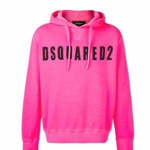 DSQUARED2 logo pink hoodie 2XL Xxl flaw DSquared